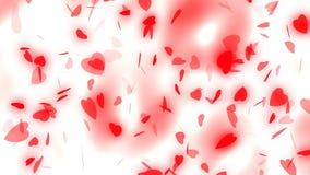 Jour du ` s de Valentine et épouser le fond abstrait, les coeurs rouges volants et les particules Symboles de l'amour, et mariage illustration stock