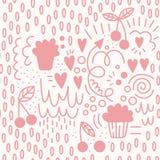 Jour du `s de Valentine Modèle sans couture de vecteur dans le style de griffonnage Gâteaux et baies illustration de vecteur