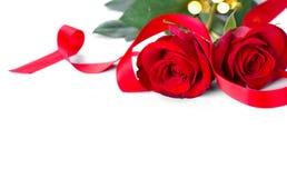 Jour du `s de Valentine roses rouges d'isolement blanches Image libre de droits