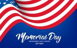 Jour du Souvenir Bannière des Etats-Unis Memorial Day avec le drapeau de lettrage et d'ondulation des Etats-Unis Photographie stock libre de droits