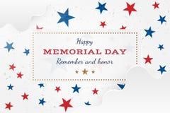 Jour du Souvenir heureux Carte de voeux avec des étoiles Événement américain national de vacances Illustration plate EPS10 de vec illustration stock