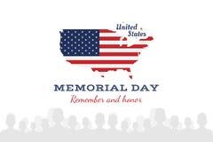 Jour du Souvenir heureux Carte de voeux avec le drapeau et la carte Événement américain national de vacances Illustration plate E illustration stock