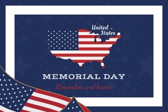 Jour du Souvenir heureux Carte de voeux avec le drapeau et la carte Événement américain national de vacances Illustration plate E illustration de vecteur