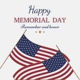 Jour du Souvenir heureux Carte de voeux avec le drapeau sur le fond Événement américain national de vacances illustration de vecteur