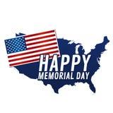 Jour du Souvenir heureux Drapeau et carte des Etats-Unis illustration de vecteur