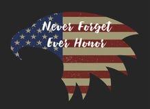 Jour du Souvenir N'oubliez jamais et honorez jamais sur l'aigle américain Image stock