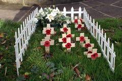 Jour du Souvenir tombe Pavots et croix Photos stock