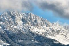 Jour ensoleillé d'un hiver, sur les collines sauvages de la Transylvanie avec des montagnes de Bucegi à l'arrière-plan Photographie stock
