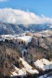 Jour ensoleillé d'un hiver, sur les collines sauvages de la Transylvanie avec des montagnes de Bucegi à l'arrière-plan Images libres de droits