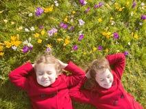 Jour ensoleillé de ressort, premières fleurs et enfants heureux image libre de droits