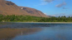 Jour ensoleillé sur le sanglot de rivière Ural polaire, le Yamal-Nenets Okrug autonome banque de vidéos