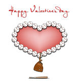 Jour et coeur de valentines des boules de base-ball Photos libres de droits