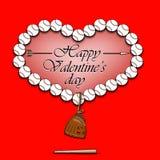 Jour et coeur de valentines des boules de base-ball Image libre de droits