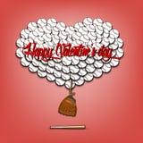 Jour et coeur de valentines des boules de base-ball Photographie stock
