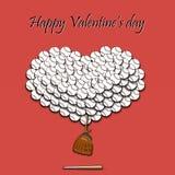 Jour et coeur de valentines des boules de base-ball Photos stock