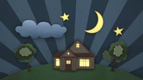 Jour et nuit belle illustration Temps-faute de concept Animation du style 3d de bande dessinée Vidéo faite une boucle HD 1080 illustration de vecteur