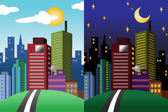 Jour et nuit vue d'une ville moderne Image stock