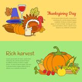 Jour et Rich Harvest Banners Set de thanksgiving Photographie stock libre de droits
