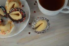 Jour et thé de valentines de nouvelle année de biscuits de fortune Photo stock