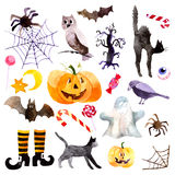 Jour Halloween de potiron d'aquarelle illustration stock