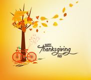 Jour heureux d'action de grâces Bicyclette tirée par la main de tintage avec des feuilles d'automne illustration stock