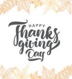 Jour heureux d'action de grâces Carte de voeux de vecteur avec les feuilles d'automne tirées par la main Photos libres de droits