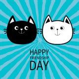 Jour heureux d'amitié Icône blanche noire de famille de couples de tête de chat de découpe illustration de vecteur