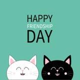 Jour heureux d'amitié Icône blanche noire de tête de chat illustration stock
