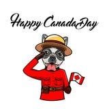 Jour heureux de Canada de bouledogue français Indicateur canadien Chien portant sous la forme de Gendarmerie royale du Canada Car illustration libre de droits