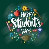 Jour heureux de ` d'étudiants illustration de vecteur