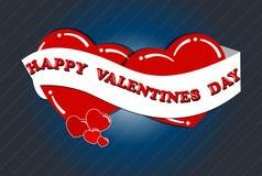 Jour heureux de la valentine s, deux coeurs dans l'amour avec un ruban photos libres de droits
