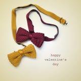 Jour heureux de noeuds papillon et de valentines des textes Photo libre de droits