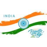 Jour heureux de République d'Inde, le 26 janvier carte de voeux avec la course indienne de brosse de drapeau national et salutati illustration de vecteur