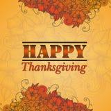 Jour heureux de thanksgiving de style de design de carte Photographie stock
