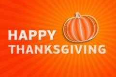 Jour heureux de thanksgiving - illustration d'automne avec le pumpki rayé Photo libre de droits