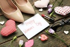 Jour heureux du ` s de femmes d'inscription Images stock