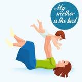 Jour heureux du `s de mère Maternité et enfance Illustration colorée Photo libre de droits