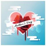 Jour heureux du ` s de mère sur le ruban blanc avec style de rose de rouge le bas poly au coeur fondu, illustration de vecteur Photos stock