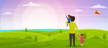 Jour heureux du ` s de p?re Le papa avec son fils sur ses mains et sa fille observent le coucher du soleil illustration de vecteur