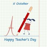 Jour heureux du ` s de professeur Une fille de bande dessinée écrit à un grand crayon la lettre Image libre de droits