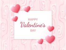 Jour heureux du `s de Valentine Carte de voeux avec des coeurs sur le fond abstrait Images stock