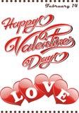Jour heureux du ` s de Valentine de carte postale ! Photos libres de droits