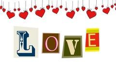 Jour heureux du ` s de Valentine de carte postale, l'amour de mot d'isolement Photo stock