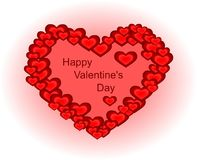 Jour heureux du ` s de Valentine - coeur fait de petits coeurs Photographie stock libre de droits