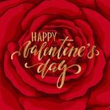 Jour heureux du `s de Valentine Lettrage tiré par la main de stylo de brosse sur la rose de rouge de fleur de fond carte de voeux Photo libre de droits