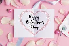 Jour heureux du ` s de valentine sur la carte Images stock