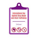 Jour international contre la toxicomanie et le trafic illicite photographie stock libre de droits