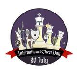 Jour international d'échecs, illustration avec des échecs stylisés de chevalier illustration de vecteur