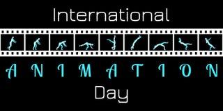 Jour international d'animation Concept d'un événement culturel Métrage de film avec l'animation L'homme est engagé en gymnastique illustration stock
