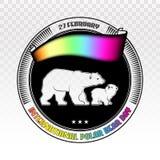 Jour international d'ours blanc Label rond d'isolement sur le blanc Photo libre de droits